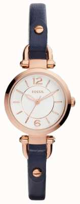 Fossil Womans slim en cuir bleu bracelet en plaqué or rose ES4026