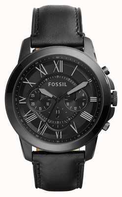 Fossil Mens bracelet en cuir noir cadran de chronographe noir FS5132