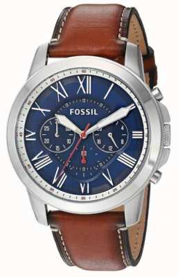 Fossil Mens bracelet en cuir brun cadran bleu boîtier en acier inoxydable FS5210