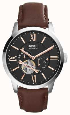 Fossil Mens bracelet en cuir brun cadran de chronographe noir ME3061
