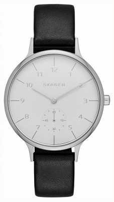 Skagen Womans bracelet en cuir noir cadran rond blanc SKW2415