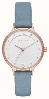 Skagen Womans slim anita bracelet en cuir blanc cadran SKW2497