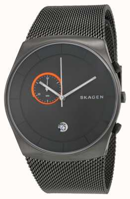 Skagen Mens en acier inoxydable gris maille bracelet cadran rond SKW6186