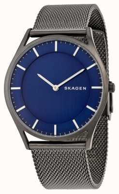 Skagen Mens maille d'acier inoxydable bracelet cadran bleu SKW6223
