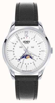 Henry London Edgware boîtier en acier inoxydable bracelet en cuir noir HL39-LS-0083