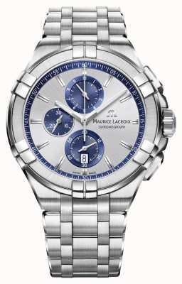 Maurice Lacroix Mens Aikon cadran bracelet en argent en acier inoxydable AI1018-SS002-131-1