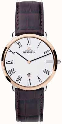 Michel Herbelin grande cadran blanc brun bracelet en cuir de Mens 19515/TR01MA