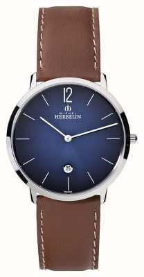 Michel Herbelin grande cadran bleu brun bracelet en cuir de Mens 19515/15