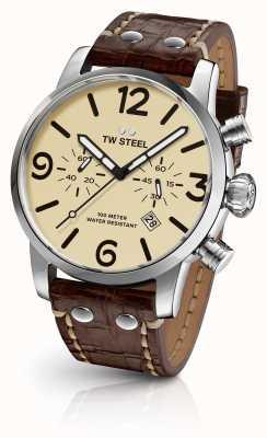 TW Steel Mens maverick chronographe cadran brun crème bracelet en cuir MS23