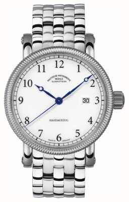 Muhle Glashutte Teutonia iii handaufzug bande en acier inoxydable cadran blanc M1-08-01-MB
