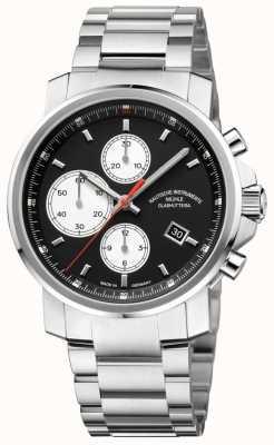 Muhle Glashutte chronographe 29er bande en acier inoxydable cadran noir M1-25-43-MB