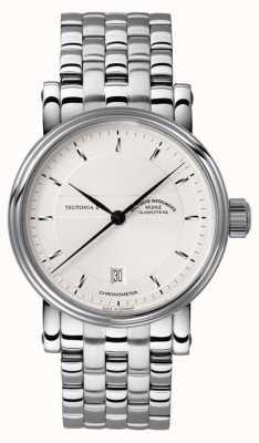 Muhle Glashutte Teutonia ii Chronomètre cadran bande argentée en acier inoxydable M1-30-45-MB