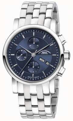 Muhle Glashutte Teutonia ii chronographe en acier inoxydable bande cadran bleu nuit M1-30-92-MB