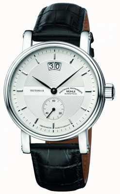 Muhle Glashutte Teutonia ii grossdatum cadran bracelet en cuir chronométrique d'argent M1-33-75-LB
