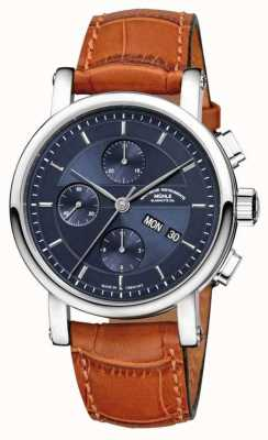 Muhle Glashutte Teutonia ii grossdatum bande de cuir chronométrique cadran bleu nuit M1-33-76-LB