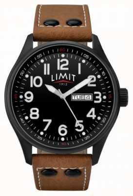 Limit Bracelet en cuir marron pour homme cadran noir 5492.01