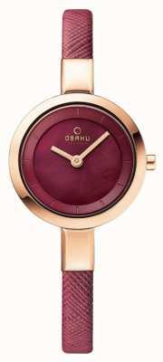 Obaku Womans boîtier en or rose bracelet en cuir rose V129LXVQRD