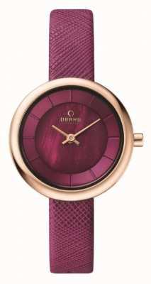 Obaku Womans boîtier en or rose rose bracelet en cuir cadran rose V146LXVQRD