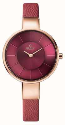 Obaku Womans boîtier en or rose rose bracelet en cuir cadran rose V149LXVQRD