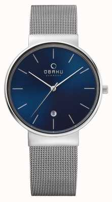 Obaku Mens bracelet en maille d'acier cadran bleu boîtier en acier V153GDCLMC