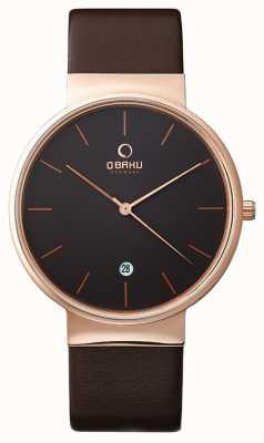 Obaku Mens or rose bracelet en cuir brun cadran noir V153GDVNRN