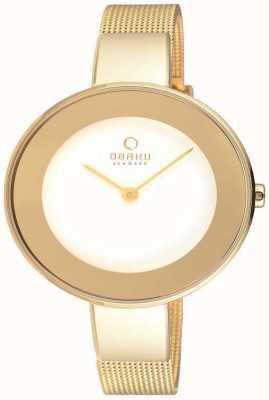 Obaku Womans boîtier en or or bracelet en maille cadran blanc V167LXGIMG