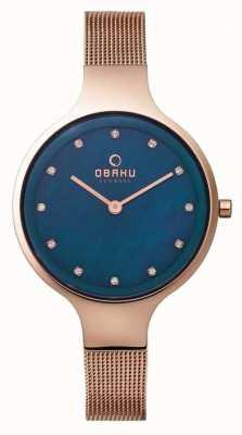 Obaku Womans boîtier en or rose rose cadran bleu bracelet en maille d'or V173LXVLMV