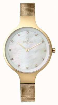 Obaku Womans boîtier en or or bracelet en maille cadran blanc V173LXGGMG