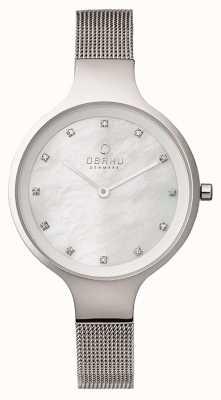 Obaku bracelet en maille cadran blanc en acier Boîtier en acier Womans V173LXCIMC