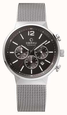 Obaku strap mesg cadran de chronographe Mens en acier Boîtier en acier V180GCCBMC