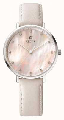 Obaku Womans boîtier en acier blanc bracelet en cuir V186LXCPRW