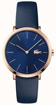 Lacoste Womans cuir bleu marine bracelet marine cadran en or 2000950