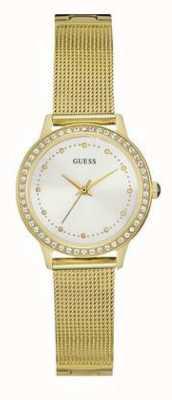 Guess Womans chelsea bracelet en maille d'or blanc cadran blanc set W0647L7