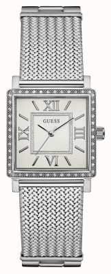 Guess argent bracelet en maille cadran rectangle blanc de Womans W0826L1