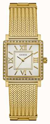 Guess Womans Highline bracelet en maille or cadran rectangle blanc W0826L2