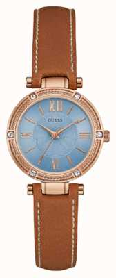 Guess parc Womans ave bracelet en cuir brun sud or rose W0838L2