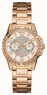 Guess Womans sassy or rose bracelet en métal cadran en or sertie de pierres W0705L3