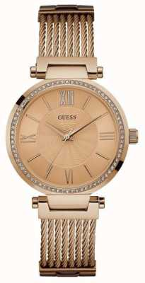 Guess soho rose Womans or autour de la sangle en or rose cadran pierre jeu W0638L4
