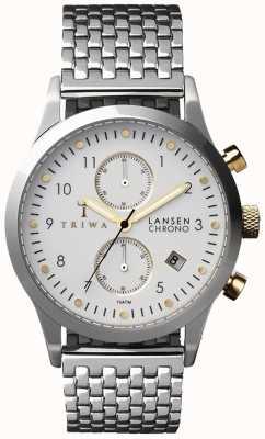 Triwa Mens ivoire Lansen argent bracelet en maille chronographe blanc LCST106-BR021212