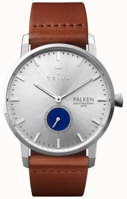Triwa Hommes yeux bleus falken bracelet en cuir marron cadran argenté FAST111-CL010212