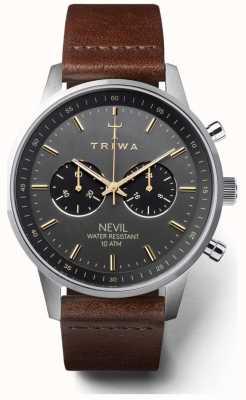 Triwa Mens nevil smoky brun foncé bracelet cuir cadran noir NEST114-CL010412