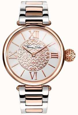 Thomas Sabo Womans karma deux tons bracelet cadran argenté en acier inoxydable WA0257-277-201-38