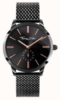 Thomas Sabo Womans esprit glam acier noir bracelet en maille cadran noir WA0277-202-203-33