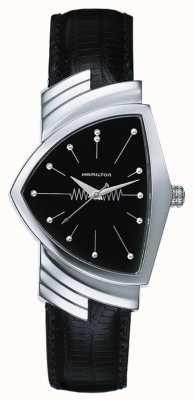 Hamilton Bracelet en cuir noir pour homme ventura quartz cadran noir H24411732