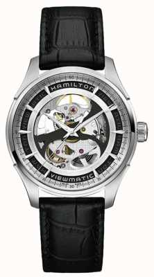 Hamilton de Mens squelette cadran en acier inoxydable bracelet noir H42555751
