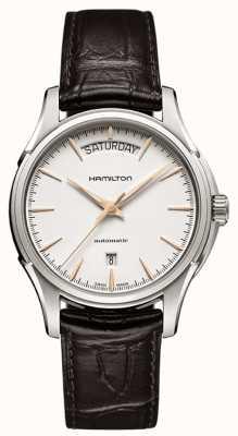 Hamilton jazzmaster jour Mens bracelet en cuir brun H32505511