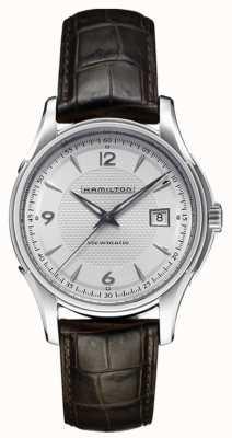 Hamilton Bracelet en cuir avec cadran argenté pour homme Jazzmaster Viewmatic H32515555