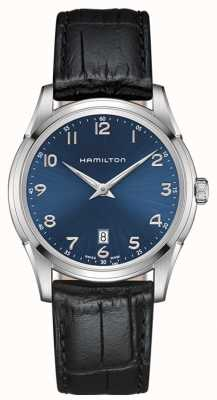 Hamilton Mens jazzmaster thinline cadran bleu bracelet en cuir noir H38511743