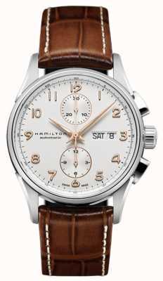 Hamilton Mens jazzmaster maestro chronographe blanc bracelet cadran en cuir H32576515