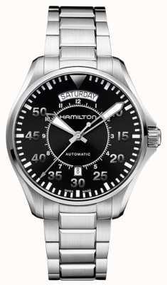Hamilton Mens kaki pilote cadran noir bracelet en acier inoxydable H64615135